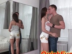 petite teen fucked in a mirror