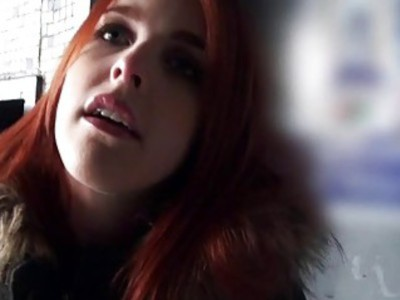 Redhead Czech girl facialed for money