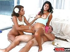 Stepmom Bianka threeway with teen couple