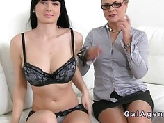 Busty brunette fingers female agent on casting
