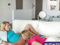 Mature milf Cherie Deville hot threeway session on the couch