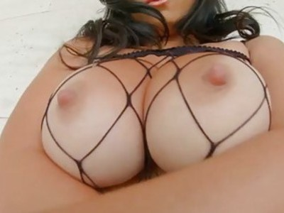 Hot sperm shower on busty big tit babe