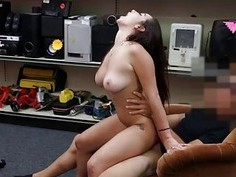 Cute college girl fucked at the pawnshop