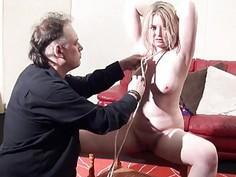 Blonde bondage babe Amber West as damsel