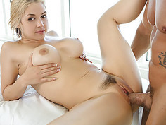 Hot blonde MILF gets oily massage