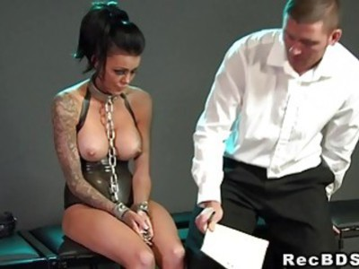 Chained busty sub banged on the floor