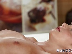Petite beautiful brunette banged after massage