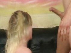 Blonde teen hottie choked by big cock