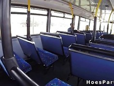 Amateur sluts sharing cock in the public bus