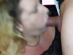 Horny BBW sucks and swallows