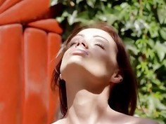 brunette and outdoor undressing pussy