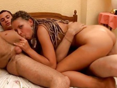 Naughty oriental gets her slit expended by 2 dudes