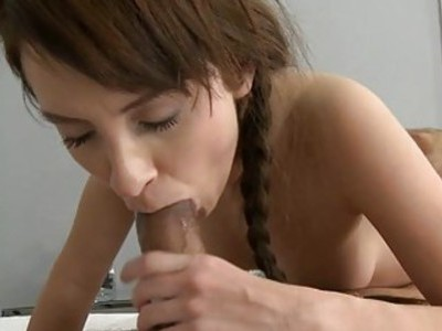 Playful bitch with joy climbs on rod to ride it