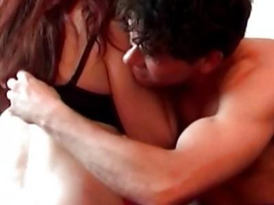 Busty slut fucks in stockings