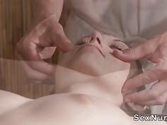 Hirsute babe gets pussy massaged and banged