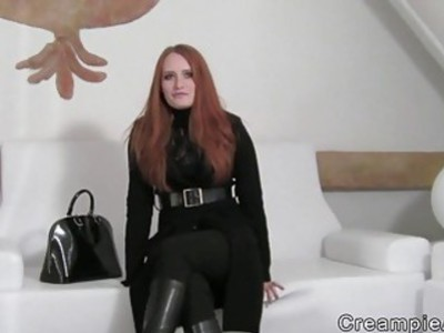 Redhead amateur gets creampie in casting