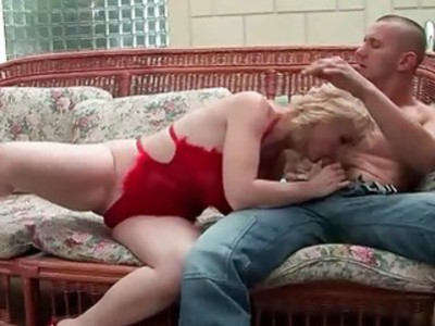 Busty grandma gives blowjob and gets anal fucked