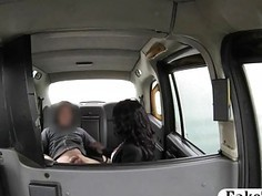 Ebony in stockings gets her pussy in the cab by the driver