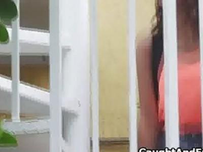 Busty teen fingering on voyeur tape