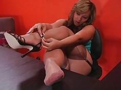 Her feet in nylon