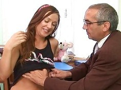 Babe is letting her aged teacher taste her fur pie