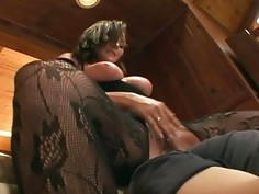 Pantyhose face sitting and oral sex on a couch
