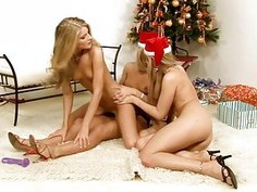 Passionate & horny lesbians caress each other well
