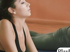 Massive boobs blonde tutor teaches yoga with her 2 students