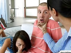 Luscious stepmom Dana Vespoli threesome with teen couple