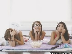 Fucking three chicks during movie