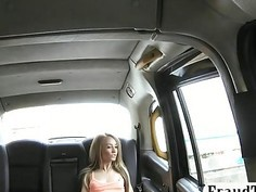 Slim amateur passenger fucked in back of cab for free