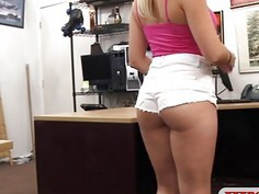 Busty amateur blonde stripper pounded at the pawnshop