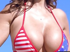Big tittied Ava Adams showed some ass on Independence Day