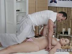 Huge tits blonde takes masseurs dick