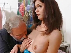 Young sweetheart takes old nasty dick in her mouth