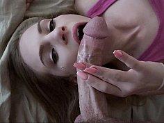Hot girlfriend sucks and fucks bent monster cock