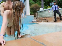 Dipping inside girlfriend under water