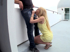 Beautiful teen Alex Grey giving him a great blowjob