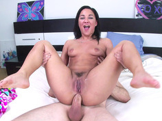 Amara Romani's ass hole swallows his cock entirely