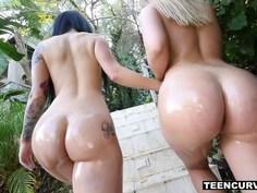 Curvy lesbians worship their brilliant asses