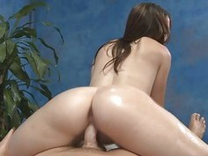 Massage cutie strips demonstrating her ass