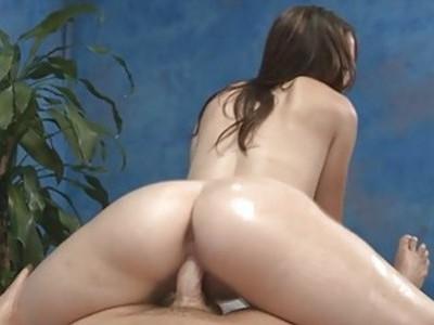Massage cutie strips demonstrating her ass