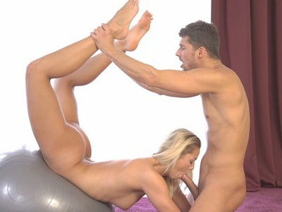 Blonde athlete Christen Courtney gets her dripping bald pussy filled and fucked hard after a...