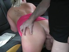 Chubby blond passenger fucked in the cab