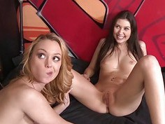 Two tight babes shared a cock for cash