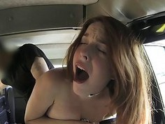 Redhead passenger banged in the taxi