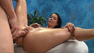 Flexible brunette spreads legs wide open for dick