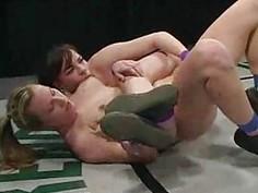 Dana DeArmond & Harmony strapon sex wrestling