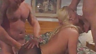 Blonde once took two dicks in her fuck hole