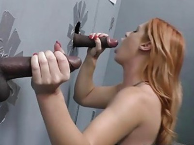 Edyn Blair suck and fucks two BBC at Gloryhole
